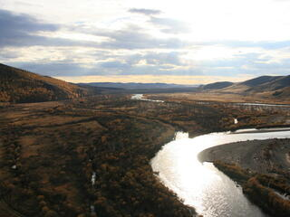 View from a mountaintop over the Onon River