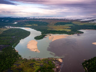 Aerial photo of Orinoco River and tepui of Colombia.