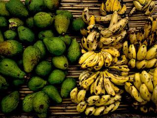 Avocados and bananas for sale