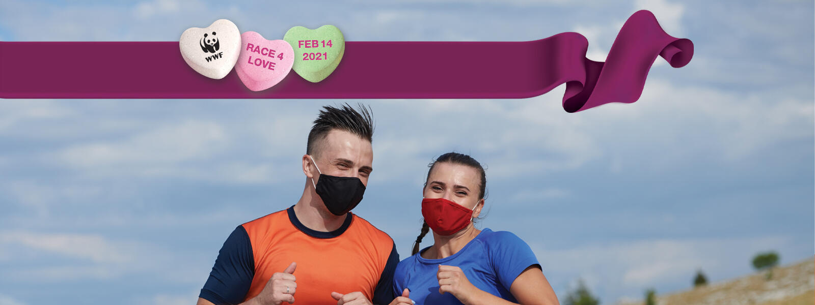 Two runners in masks giving thumbs up