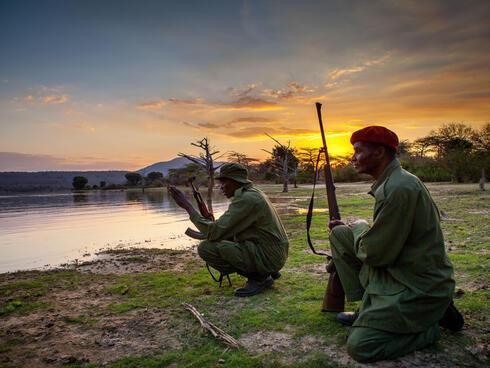 Rangers George Athanus and Said Mkinga in Selous Game Reserve.