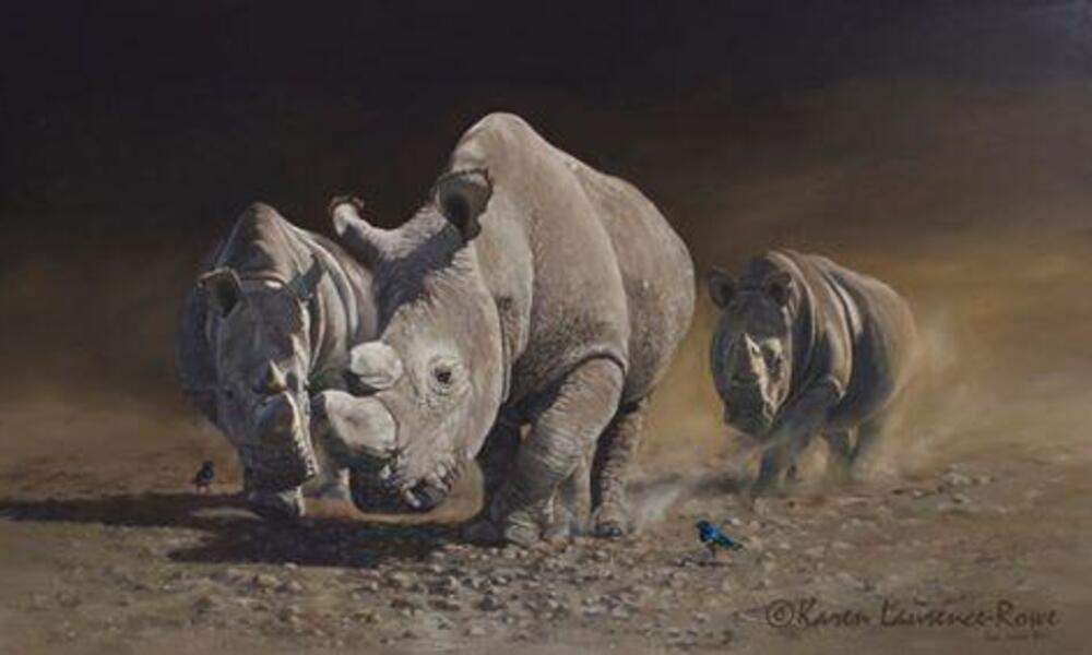 Painting of rhinos charging