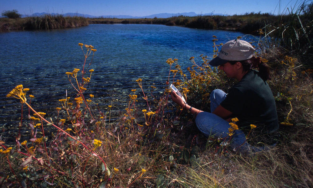 A scientist testing wetland pools to monitor changes in pH Cuatrocienigas Chihuahua Desert, Mexico
