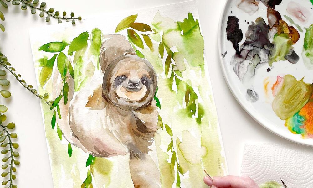 Painting of a sloth in a tree