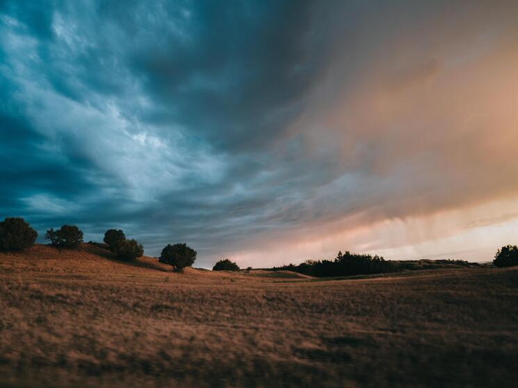 Stormy sunrise over the Badlands