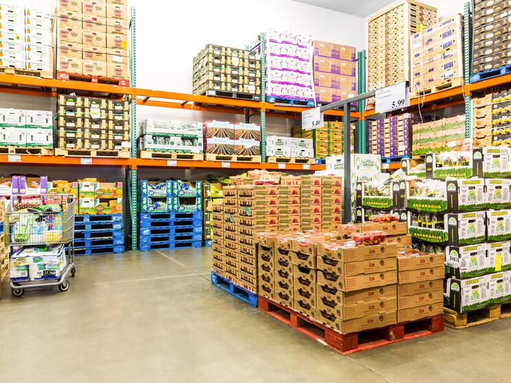 food stocked in a warehouse
