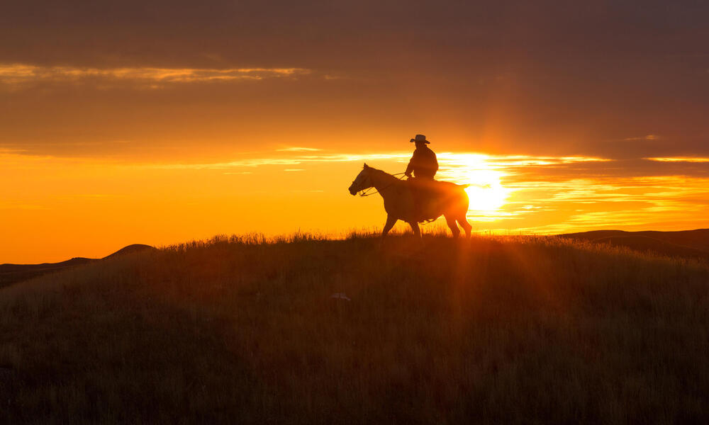 Lyle Perman on his family ranch in Lowry, South Dakota.