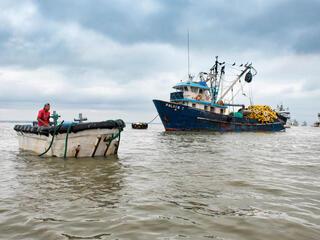 Tuna fishing boat on the water in Posorja, Ecuador.