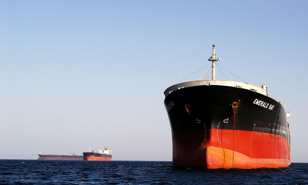 Petrol tanker waiting for its cargo, Fujeirah port, United Arabe Emirats, Indian Ocean