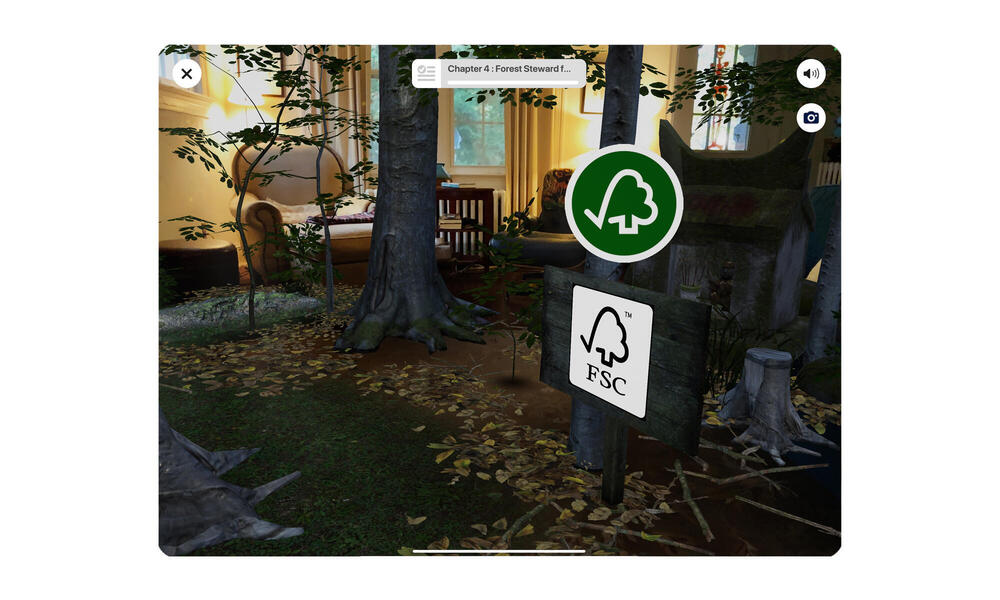 Screenshot of room with AR forest and FSC logo