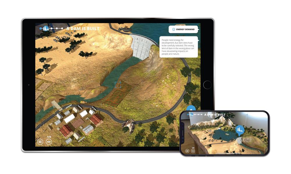 Screenshots from WWF Free Rivers app showing dams