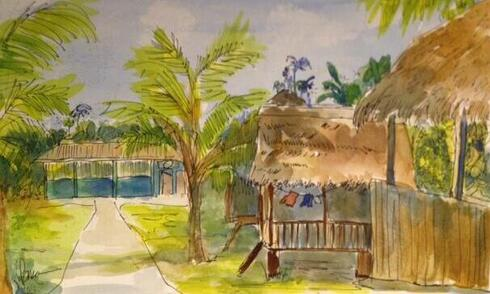 water color of village