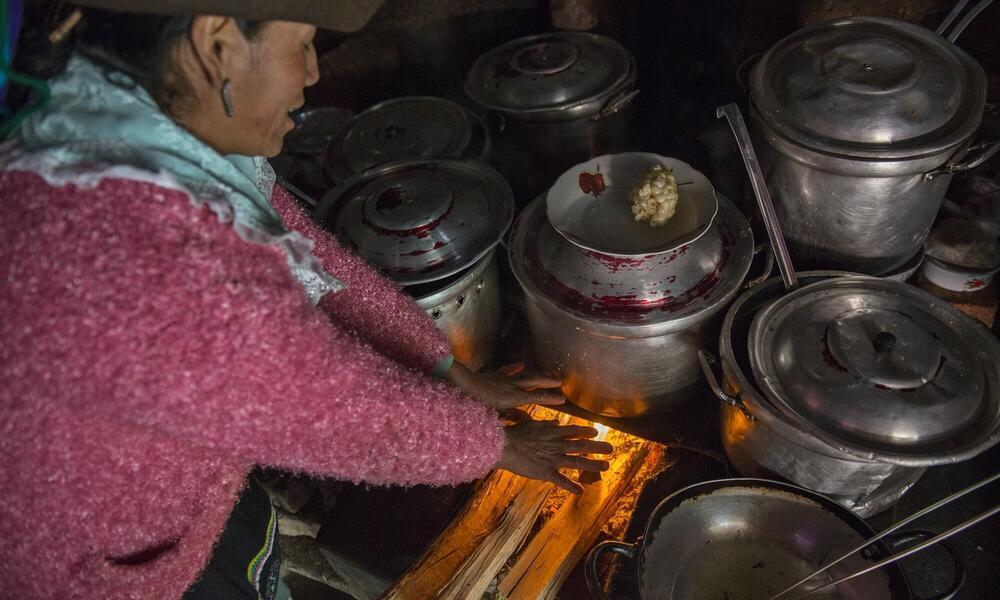 Woman cooking Huascaran National Park, Peru