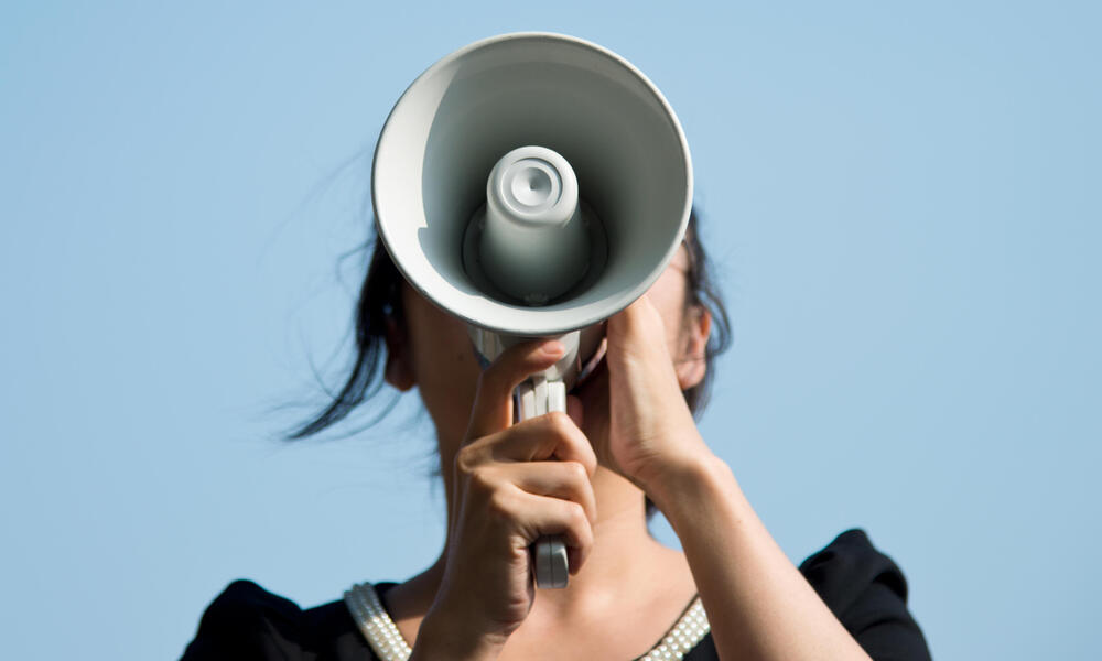 Woman on Megaphone