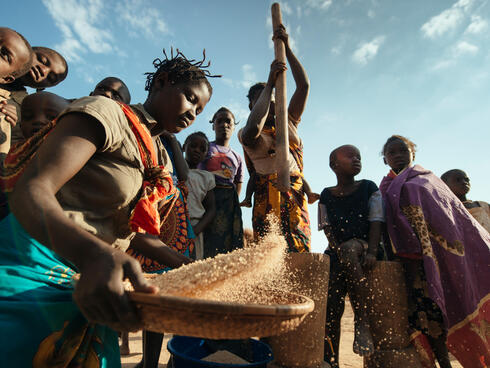 Woman dehusking and seperating various grains such as millet, maize and sorghum along the road to Niassa Game Reserve
