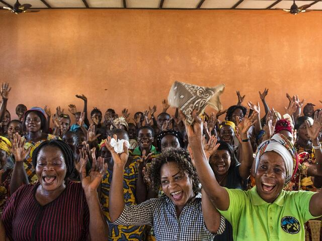 Women interested in the environment meet in a Monkoto community space.