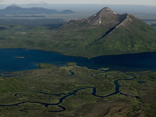 Rivers flowing and mountains in Alaska