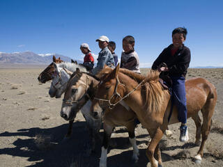 A group of people on horseback in a row smile and look at the camera