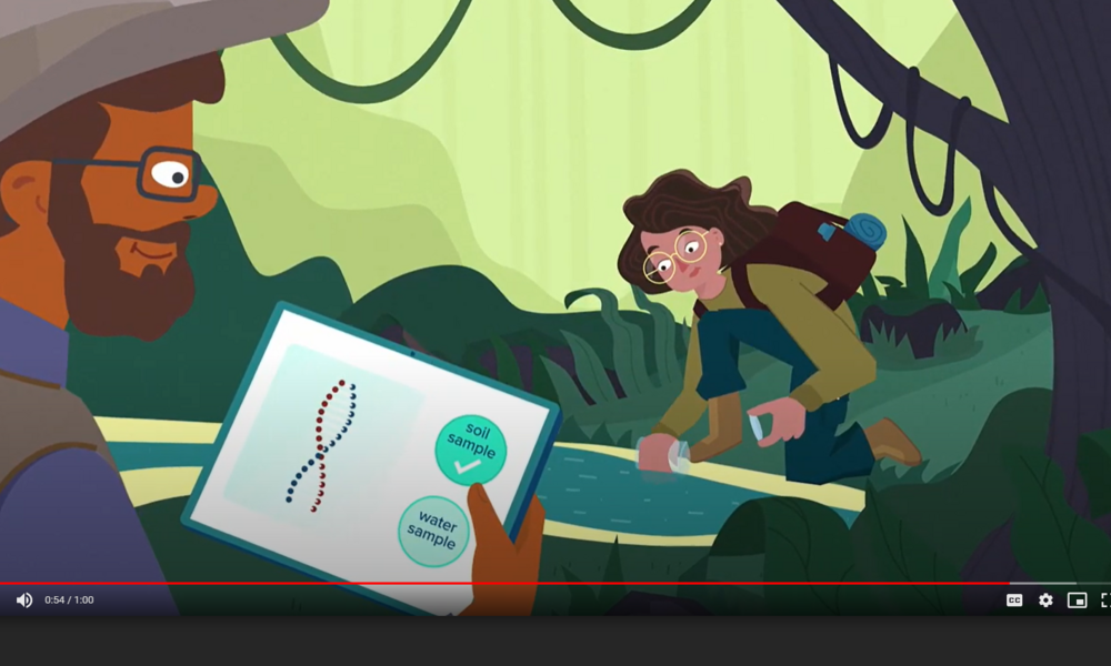 Male and female cartoon characters collecting DNA samples from a cartoon forest