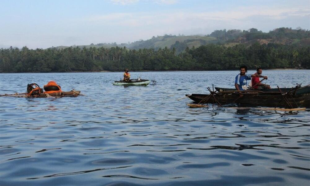 men on small wooden boats paddle across calm blue water with a coastline of trees in the background