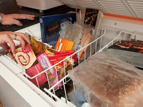 A deep freezer containing frozen foods