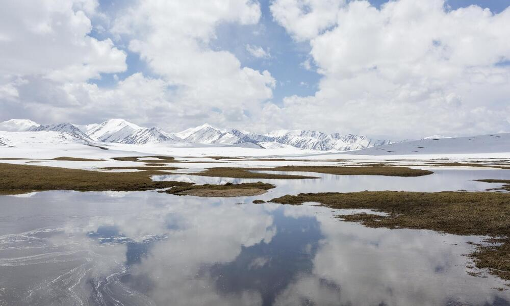 Above 12,000 feet, in the Tien Shan Mts., the headwaters of the Naryn River