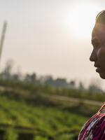 Sirjana Tharu in her chamomile field in Nepal.