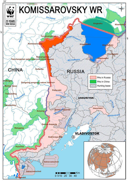 map of Komissarovsky Wildlife Refuge