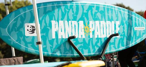 Surfboard with custom Panda Paddle design