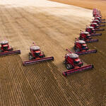 Mass soybean harvesting at a farm in Brazil