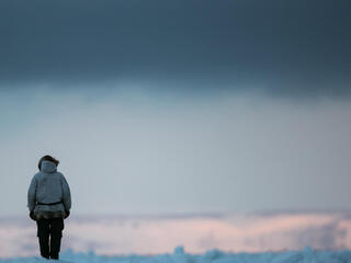 Standing on snow in the Arctic