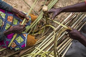 weaving by village women in Mpelu, Democratic Republic of the Congo.